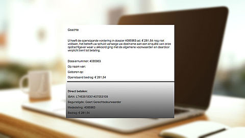 Let op: deze e-mail met dwangbevel is nep