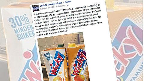 Wicky past misleidende 'minder suiker'-claim aan}
