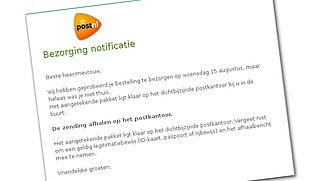 Let op: mail over afhaalbericht 'PostNL' met malware