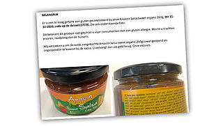 Amaizin Organic roept salsa terug vanwege te hoog glutengehalte