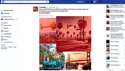 Misleidende vakantiefoto's in Facebookadvertenties