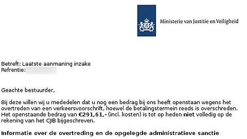 Let op: valse e-mail van CJIB over verkeersboete