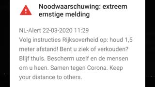 NL-Alert van overheid: houd afstand van anderen