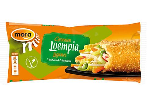 Mora roept Groentenloempia's terug, snacks bevatten ham en kip}