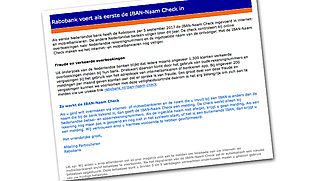 Mail over 'naamcheck bij Rabobank' is vals!