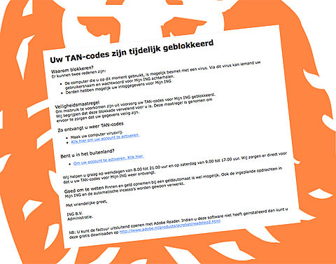 Trap niet in deze phishingmail over TAN-codes van ING}