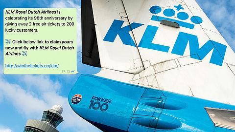 WhatsApp-hoax: 2 gratis vliegtickets van 'KLM'}