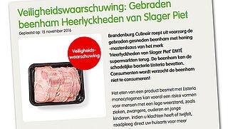 Risico op listeriabacterie in beenham EMTÉ en Hoogvliet