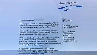 Gemeente Almere waarschuwt voor nepbrief over afvalstoffenheffing