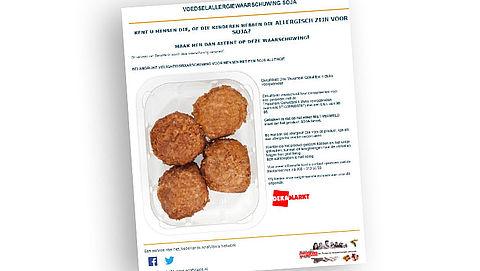 Let op: soja in DekaMarkt-gehaktballen niet vermeld op sommige etiketten
