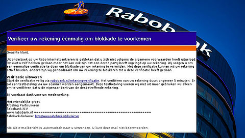 Phishingmail 'Rabobank' over geblokkeerde rekening