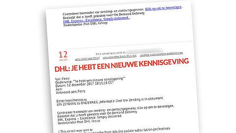 Nepmail over 'zending' DHL of PostNL: 40.000 consumenten klikken op gevaarlijke link