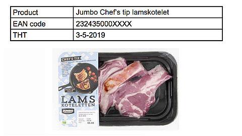 Jumbo roept lamskoteletten terug vanwege gevaarlijke bacterie