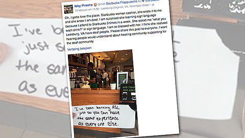 Starbucks verrast klant met lief briefje