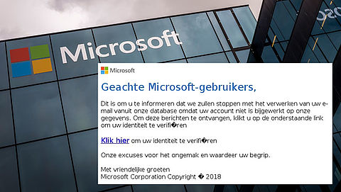 Valse mail van 'Microsoft' over geblokkeerd mailaccount}