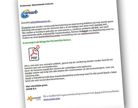 ANWB waarschuwt voor phishingmail}