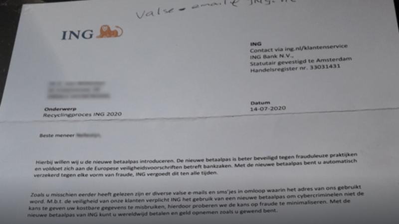 Pas op voor phishing uit naam van 'ING' met fysieke brief