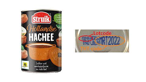 Verkeerd etiket op blikken Hollandse Hachee van Struik}