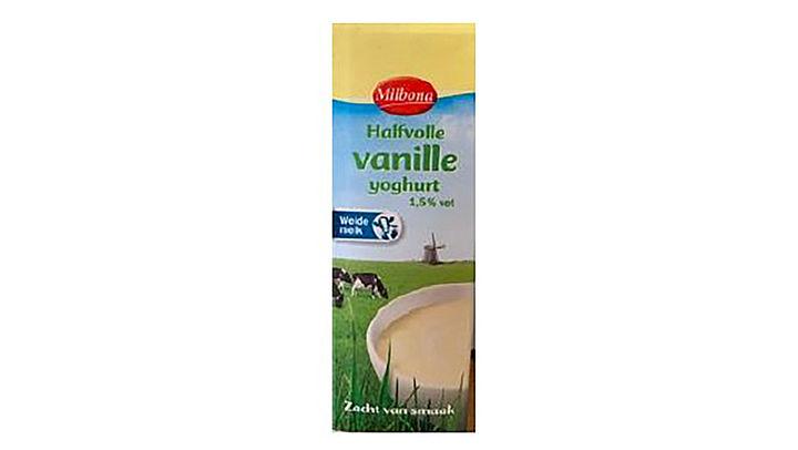 Metaaldeeltjes in halfvolle vanilleyoghurt