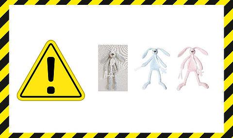 Terugroepactie Rabbit Reece Tuttle-doekjes: verstikkingsgevaar voor baby's