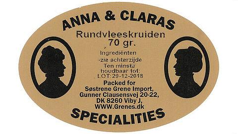 Søstrene Grene roept Rundvleeskruiden Anna & Clara's Specialities terug}