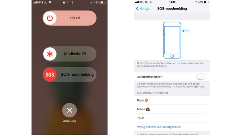 SOS-functie iOS - foto