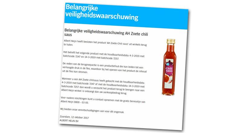 Albert Heijn roept Zoete Chilisaus terug van eigen merk