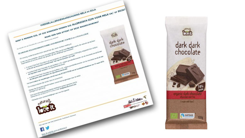 Les Chevaliers BV roept Naturally Love It chocoladerepen terug