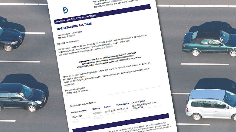 Valse mail Drime Vision over verkeersboete