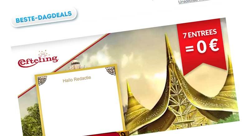 Geen gratis Eftelingkaartjes, wél veel spam