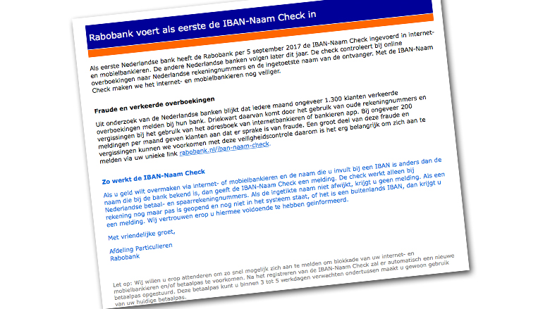 Mail over 'naamcheck bij Rabobank' is vals!