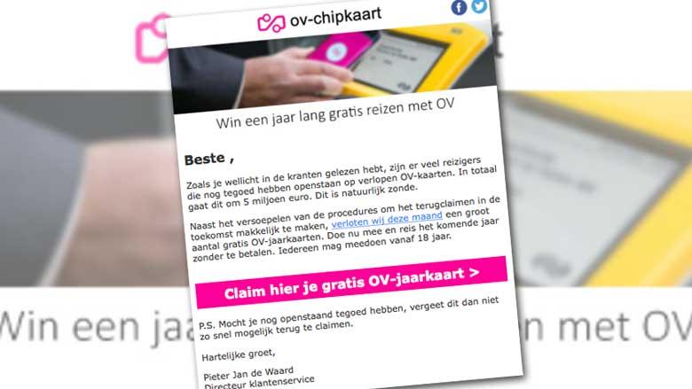Waarschuwing: mail 'Win een jaar lang gratis reizen met OV' is vals