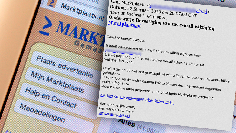 Trap niet in phishingmail van 'Marktplaats'