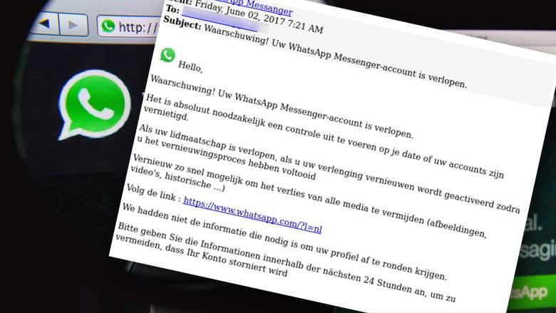 Valse mail: 'Waarschuwing! Uw WhatsApp Messenger-account is verlopen'