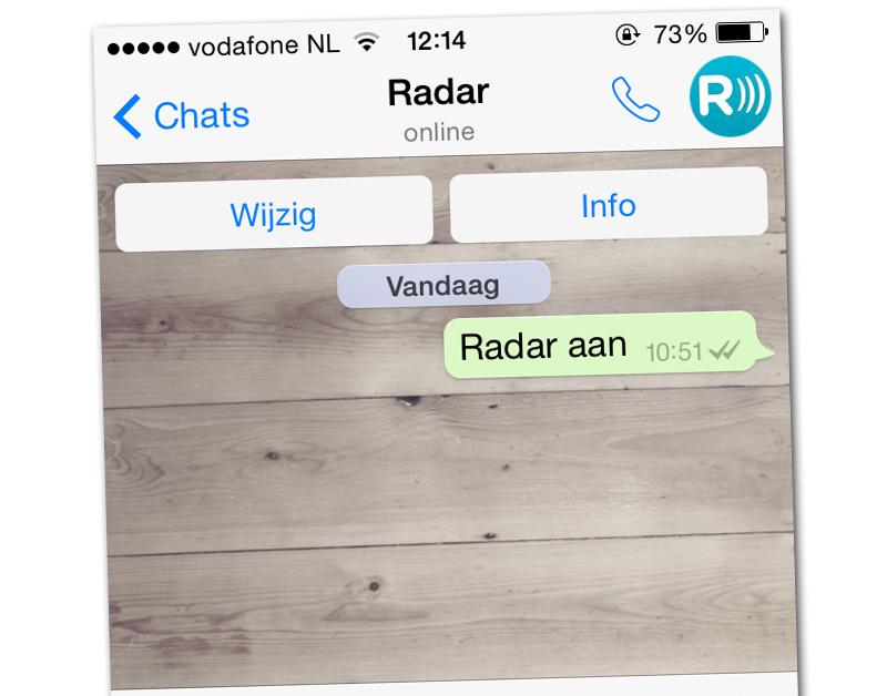 Radar start met WhatsApp-dienst