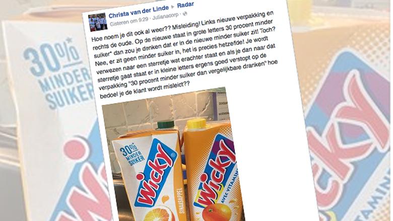 Wicky past misleidende 'minder suiker'-claim aan