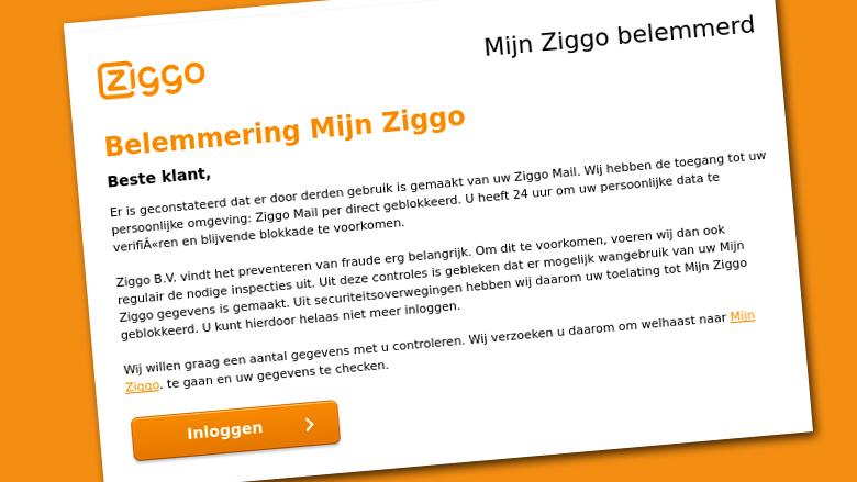 Attentie: Valse mail 'Ziggo' over misbruik account