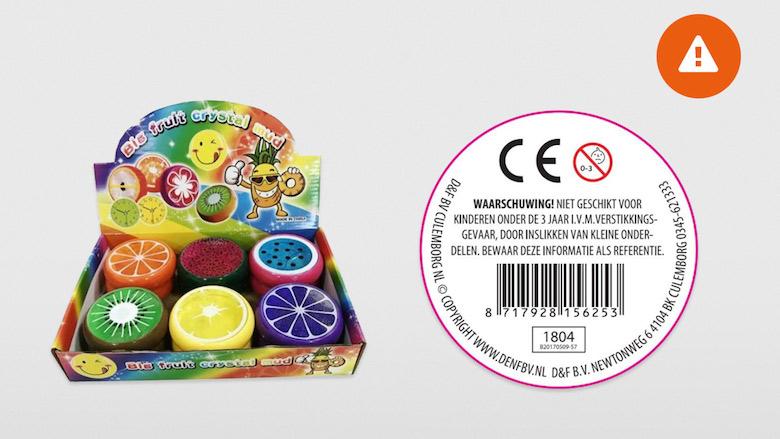D&F BV. roept Fruit Slime terug wegens te hoge concentratie chemicaliën