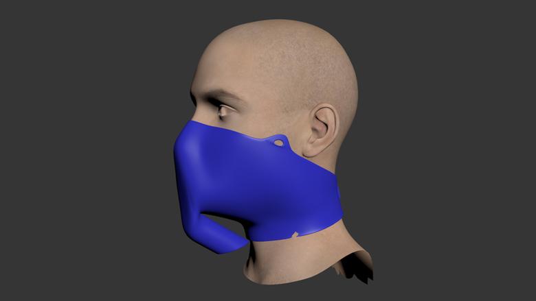 Gezichtsmasker gemaakt met een 3D-printer. Bron: https://cults3d.com/
