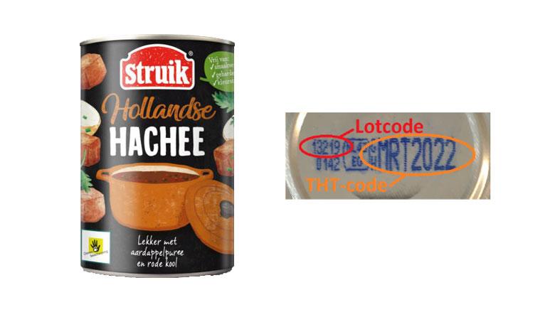 Verkeerd etiket op blikken Hollandse Hachee van Struik