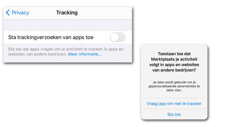 Instellingen iOS en popup