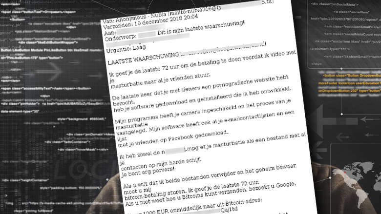 Let op: 'porno-afpersingsmail' is nep