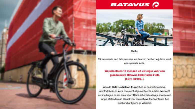 Let op: valse mail over gratis fiets van Batavus