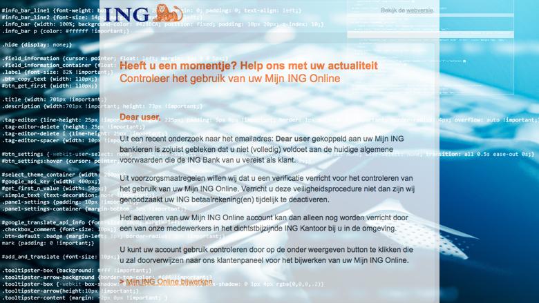 Pas op voor phishingmail van 'ING' over Algemene Voorwaarden
